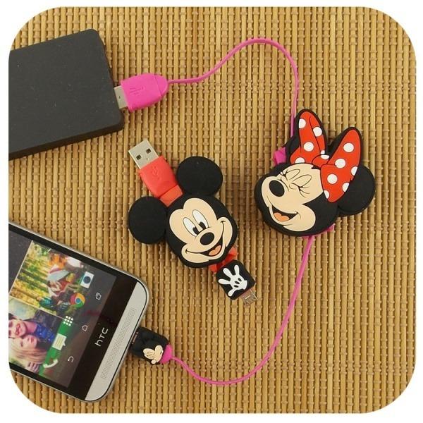~Disney~Micro USB 伸縮傳輸線~米奇  米妮