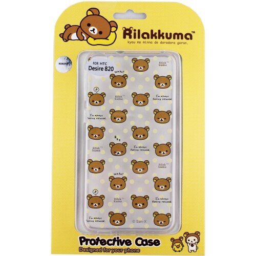 Rilakkuma 拉拉熊/懶懶熊 HTC Desire 820 / D820u 彩繪透明保護軟套-繽紛大頭熊