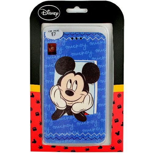 【Disney】Samsung Galaxy E7 哈囉系列 隱磁側掀皮套-米奇