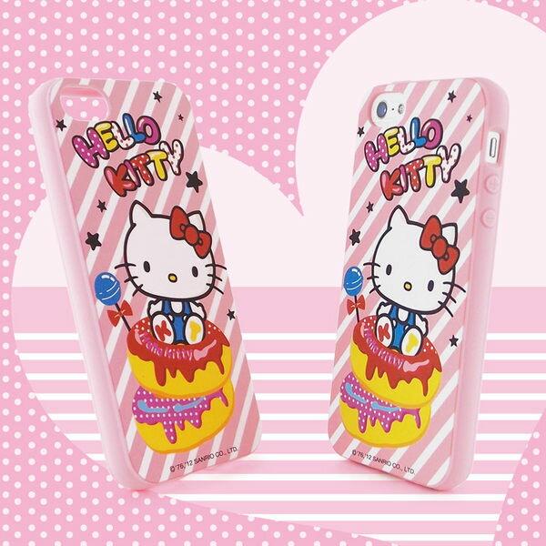 Sanrio 三麗鷗 Hello Kitty iPhone 5 甜點下午茶系列軟式保護套-甜甜圈◆贈! 晶鑽套 iPhone 4 保護殼◆