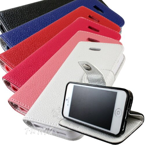 KooPin Apple iPhone 5 雙料縫線 側掀(立架式)皮套