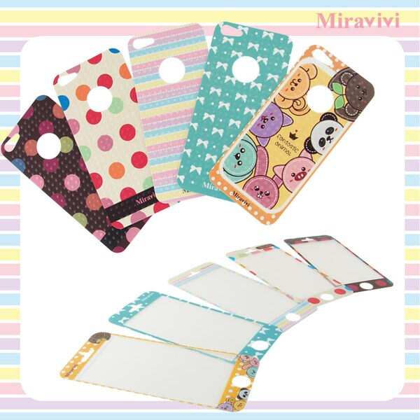 Miravivi iPhone 5 粉彩條紋時尚雙面彩繪保護貼