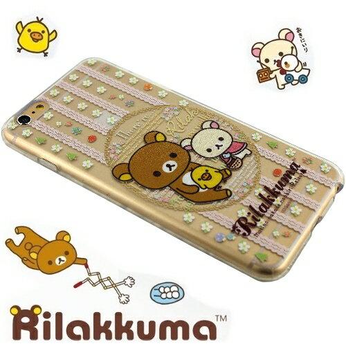 Rilakkuma 拉拉熊/懶懶熊 iPhone 6 Plus (5.5吋) 彩繪透明保護軟套-花草優雅熊