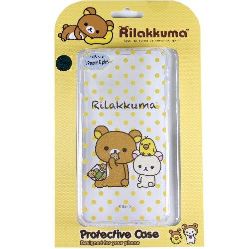 Rilakkuma 拉拉熊/懶懶熊 iPhone 6 Plus (5.5吋) 彩繪透明保護軟套-點點好朋友