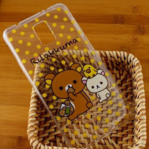Rilakkuma 拉拉熊/懶懶熊 Samsung Galaxy Note 4 彩繪透明保護軟套-點點好朋友