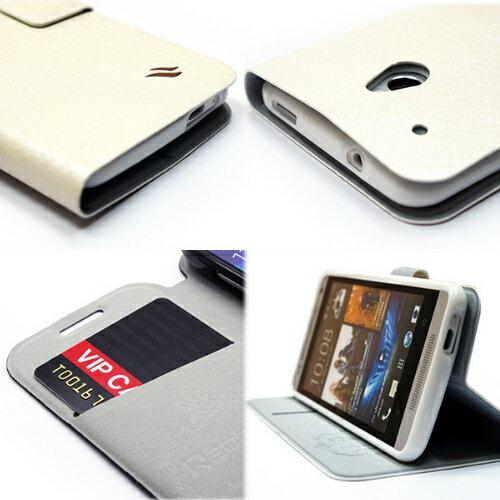 Redberry HTC One mini (可立式)水絲紋薄型筆記本皮套