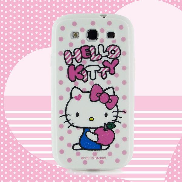 三麗鷗 Hello Kitty Galaxy S3 i9300 粉紅點點塗鴉蘋果軟式保護套◆送!真皮直入式手機套(尺寸不可挑)◆