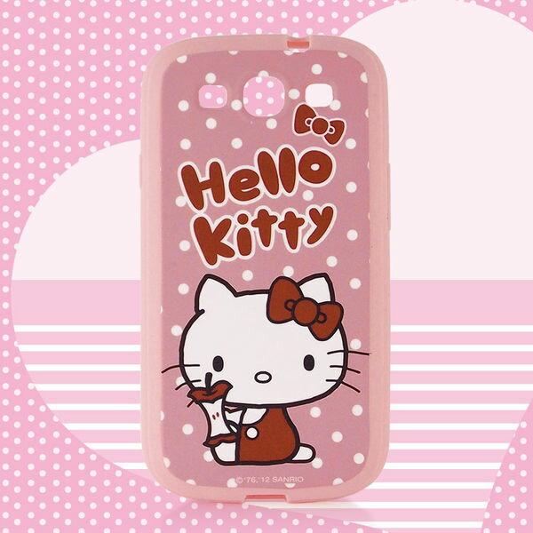 Sanrio 三麗鷗 Hello Kitty SAMSUNG Galaxy S3 i9300 白點點蘋果心軟式保護套◆送i-COSE (真皮) 抽拉式 皮套IP4◆