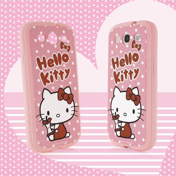 Sanrio 三麗鷗 Hello Kitty SAMSUNG Galaxy S3 i9300 白點點蘋果心軟式保護套◆贈!美式運動風手機皮套◆
