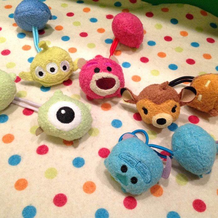 =優生活=日本迪士尼可愛tsum tsum大眼仔 毛怪 抱哥 小鹿斑比 三眼怪 雙頭髮束 髮圈 兒童髮飾