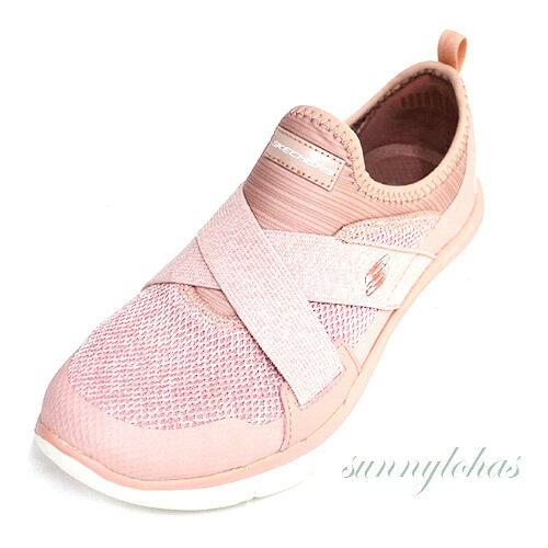 SKECHERS(女)訓練鞋FlexAppeal2.0運動繃帶鞋套入式-12752ROS粉白[陽光樂活]