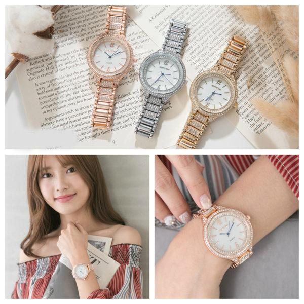 ~好時光~手錶 奢華晶鑽 珍珠貝殼面 玫瑰金 金色  女錶 SFNY 手鍊錶 ~  好康折