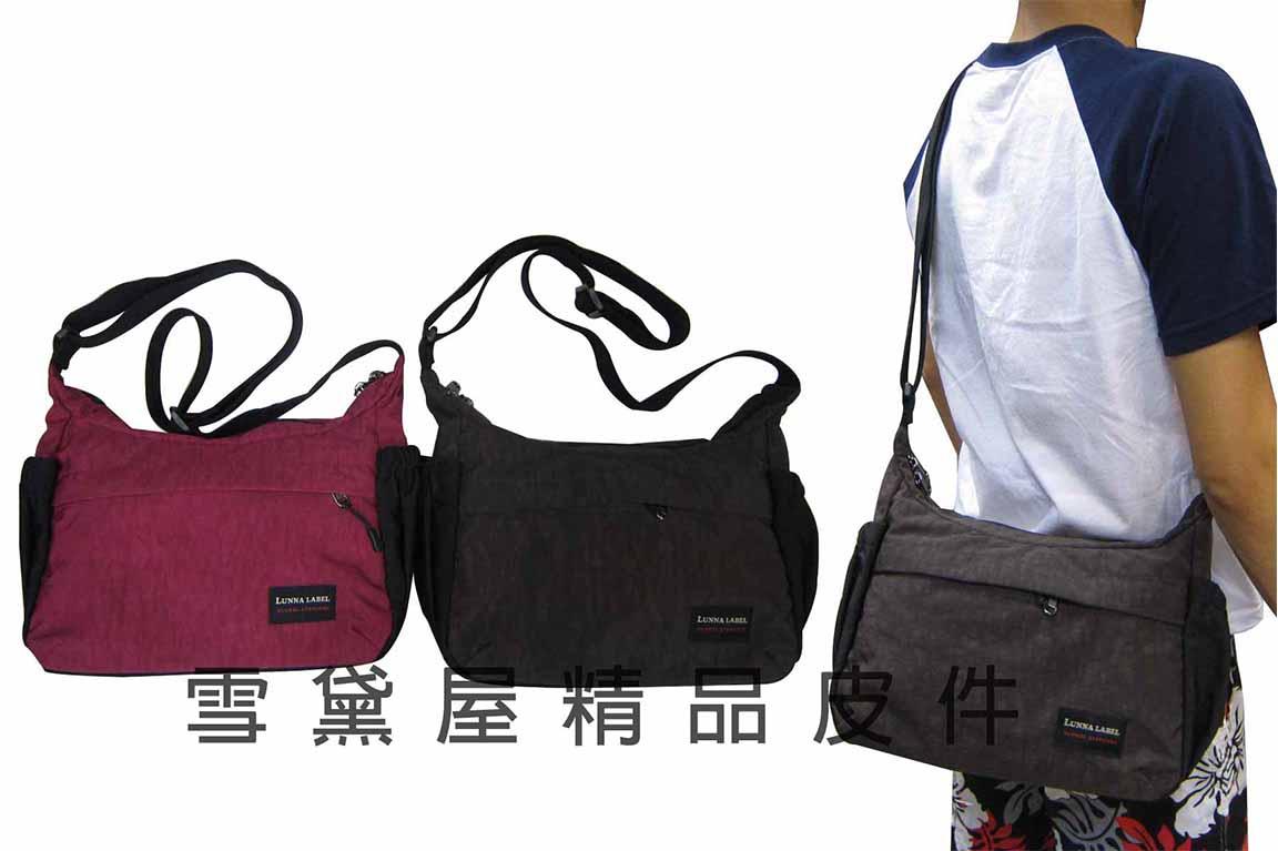 ^~雪黛屋^~LUNNY 肩側包外袋可放水瓶隨身物品可肩背斜側背高單數防水尼龍布 MIT製