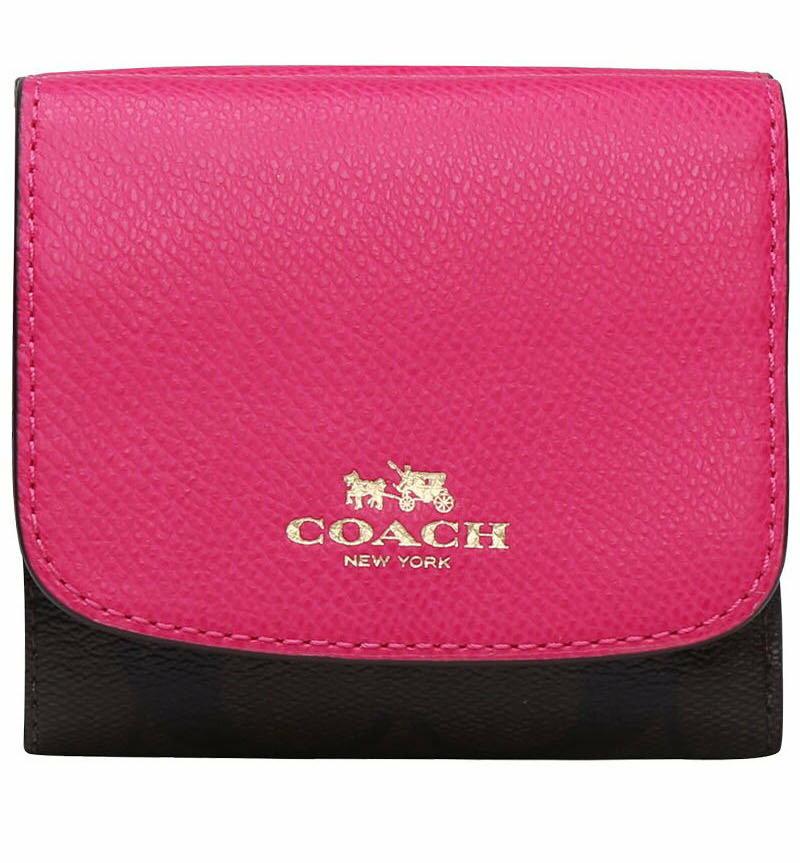 (Smile) COACH F53837 女款PVC配皮短夾三折疊錢夾真皮小錢包