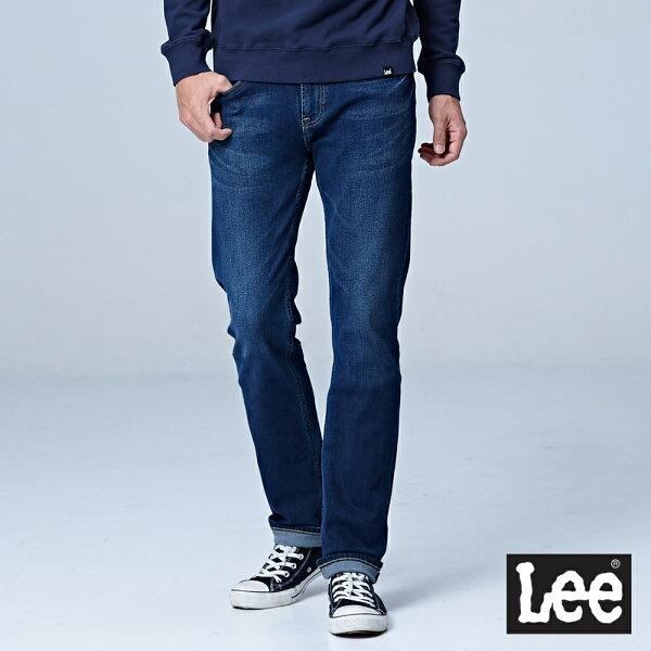 Lee724中腰合身直筒牛仔褲-男款-深藍色