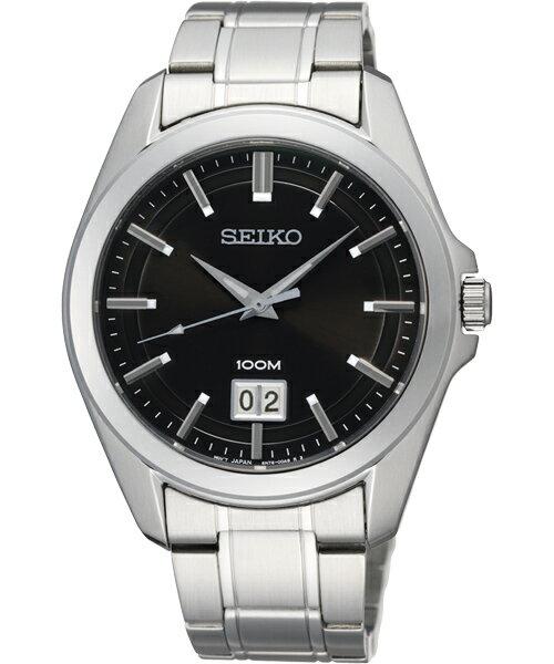 Seiko 6N76-00A0D 經典簡約腕錶/黑面40mm