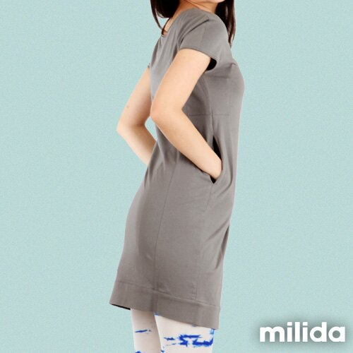 【Milida,全店七折免運】-早春商品-素色款-簡約休閒口袋洋裝 6