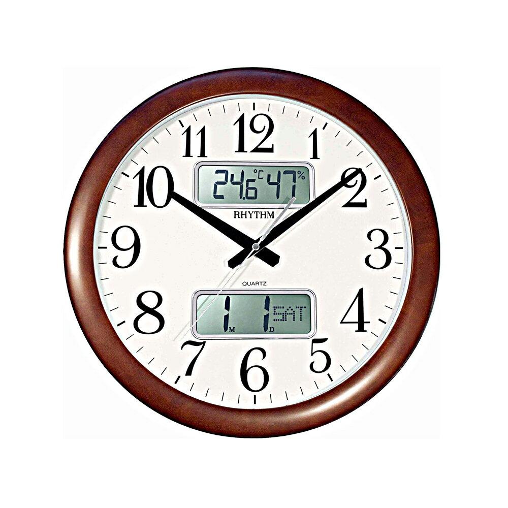 RHYTHM 日本麗聲 CFG901 雙顯液晶萬年曆溫濕度靜音掛鐘 - 限時優惠好康折扣
