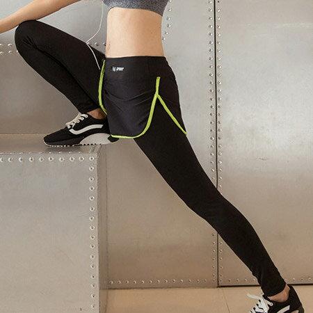 亮眼螢光色滾邊超彈力排汗運動長褲 假兩件式 運動褲【N202205】