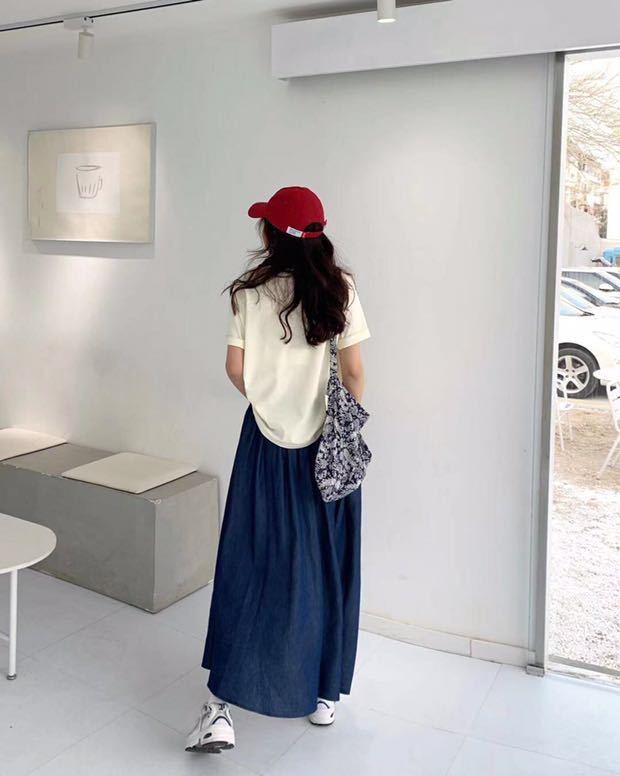 港風純色半身裙女2021春夏新品韓版學生高腰A字長裙