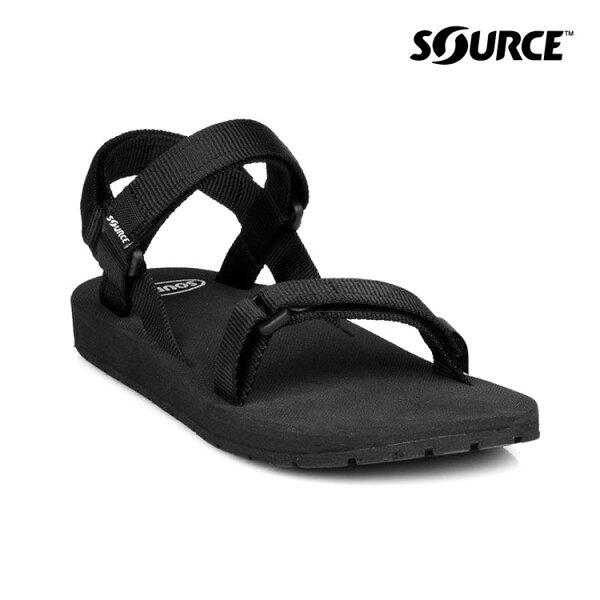 SOURCE健走型運動涼鞋Classic10101100【黑】城市綠洲(織帶、輕量、快乾、抑菌)