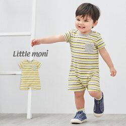 Little moni 條紋連身褲-黃色