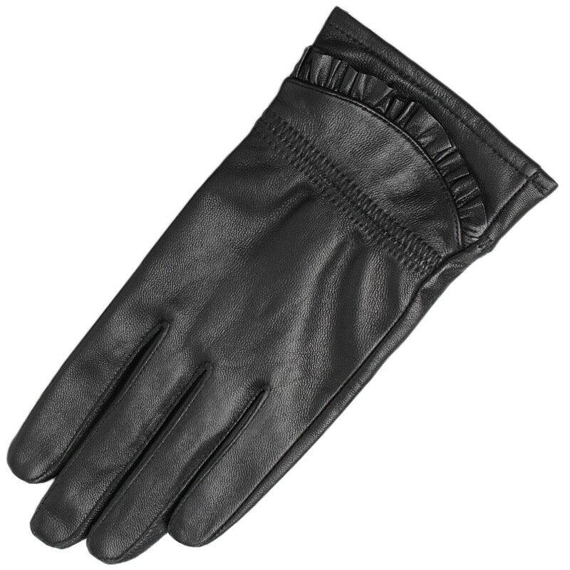 真皮手套保暖手套-綿羊皮加絨褶皺荷葉邊女手套73wm62【獨家進口】【米蘭精品】 1