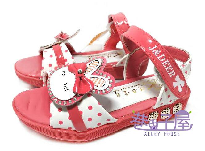 【巷子屋】童款亮鑽兔子造型涼鞋 寶寶鞋 學步鞋 [5520] 西瓜紅 超值價$190