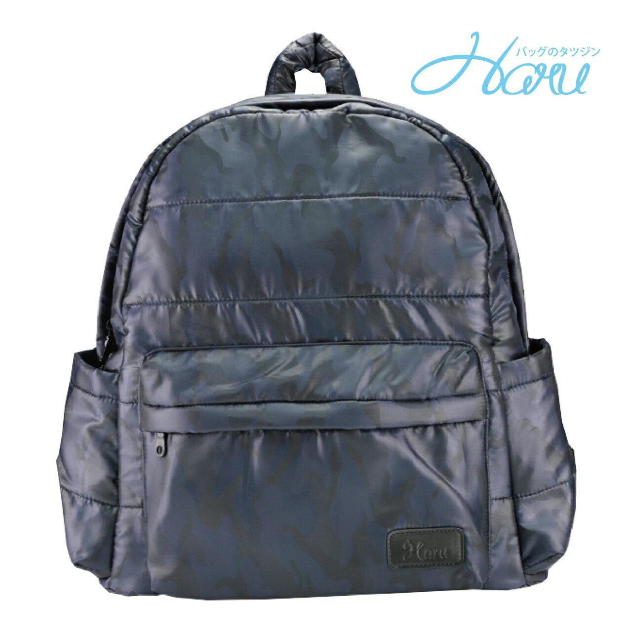 HARU 小晴天本舖空氣媽媽包 日本布料 大拉鍊後背包 –TRAVELER【藍迷彩】