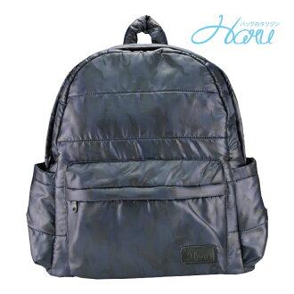 HARU 小晴天本舖空氣媽媽包 日本布料大拉鍊後背包 –TRAVELER【藍迷彩】