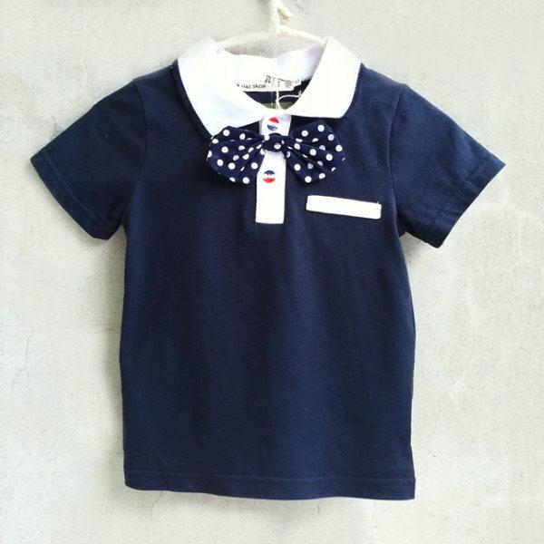 【班比納精品童裝】假口袋POLO衫-藍(附點點別針【BO150622060】
