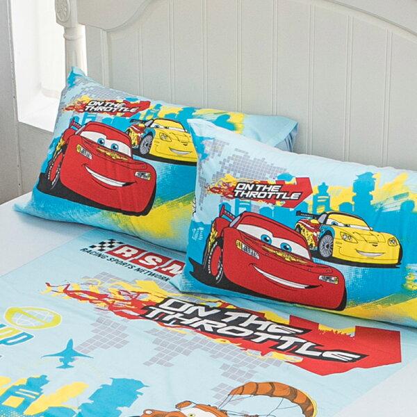 床包單人【Cars閃電麥坤-旅行篇】混紡精梳棉,含一件枕套,正版授權,戀家小舖,台灣製
