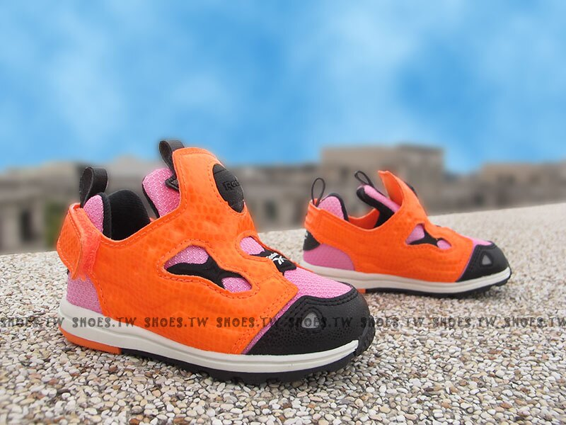 《下殺6折》Shoestw【V69966】Reebok Pump Fury 小童鞋 黑紫橘 襪套 黏帶 小童