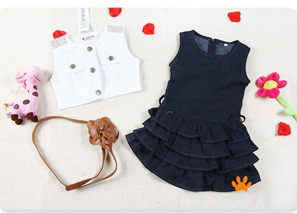 Girl O-Neck Sleeveless Solid Button Ruffles Dress Two Piece Set With Belt 0