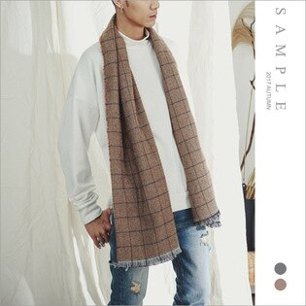 sample:現貨圍巾正方格流蘇【AL19343】-SAMPLE