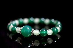 【喨喨飾品】綠玉髓/東菱手鍊 vs 純銀花蓋 A556