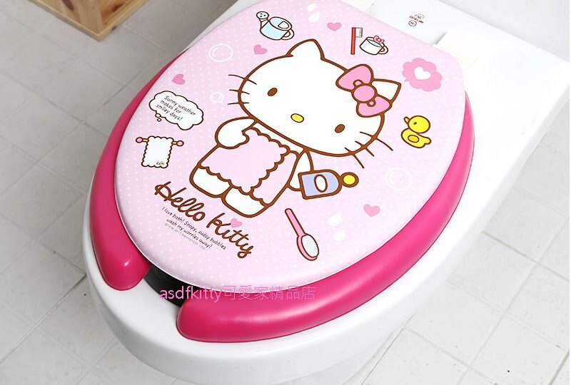 asdfkitty可愛家☆KITTY粉浴巾U型馬桶蓋/馬桶座-舒適軟沙發坐墊-韓國製