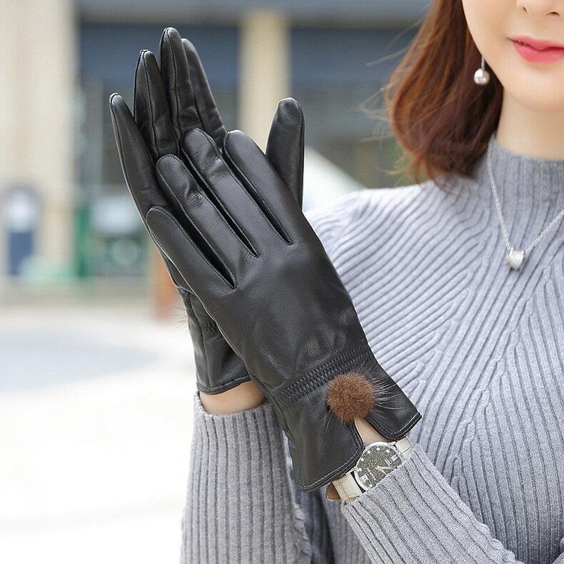 真皮手套保暖手套-綿羊皮加絨毛球防風女手套73wm63【獨家進口】【米蘭精品】 1