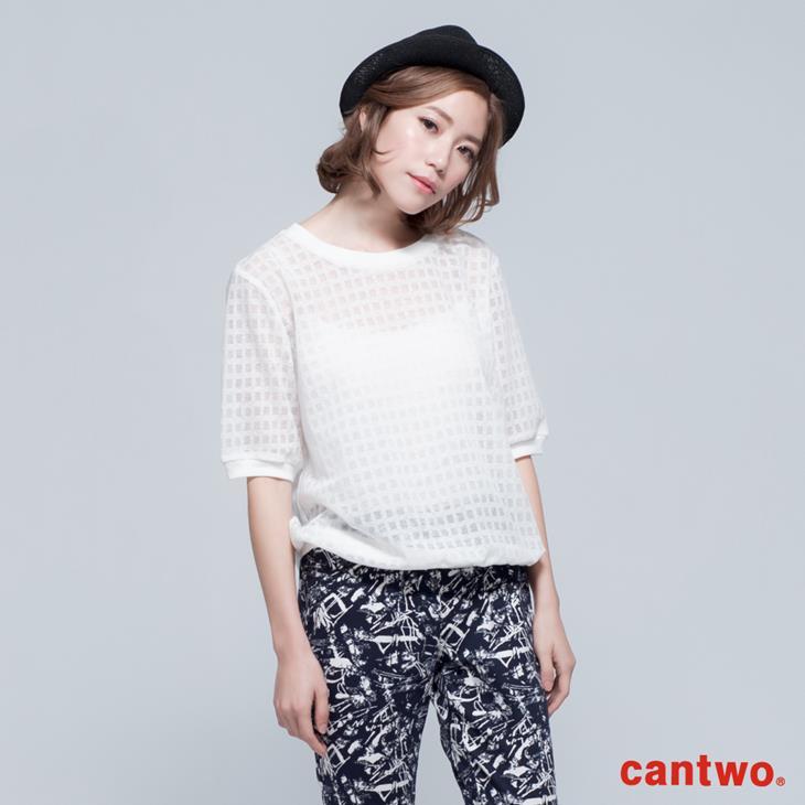 cantwo透視網紗格紋短袖上衣(共三色) 0