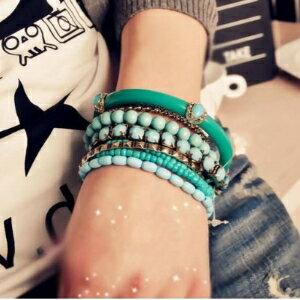 美麗大街【GS0260】 波西米亞海洋風 清爽藍色珠珠多層手鐲 手鍊飾品