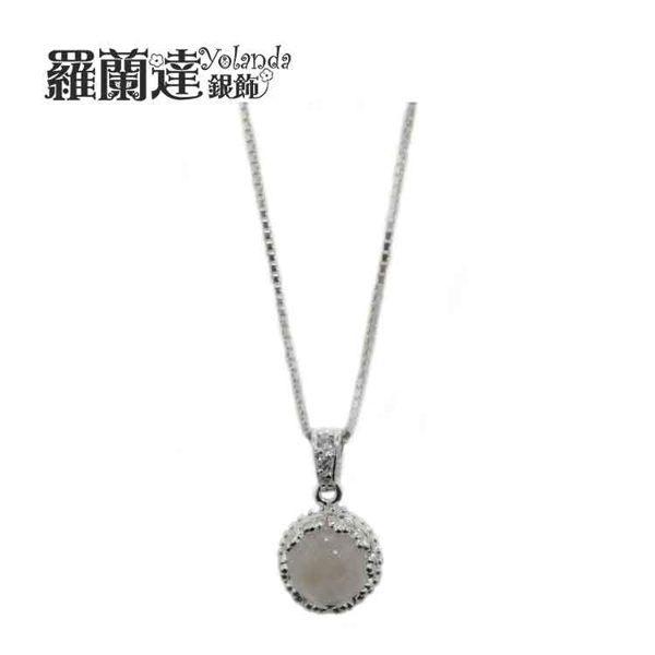【羅蘭達銀飾】天然藍月光石。閃爍悅目。皇冠造型。925純銀項鍊