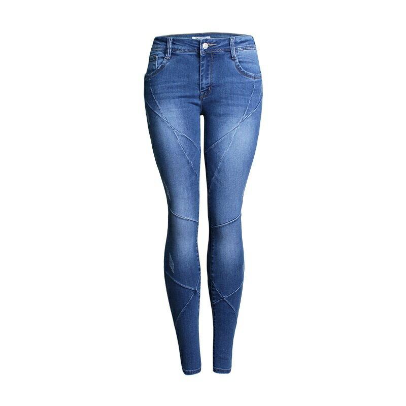 牛仔褲丹寧小腳褲-交叉縫線低腰彈力女長褲73wx15【獨家進口】【米蘭精品】 0
