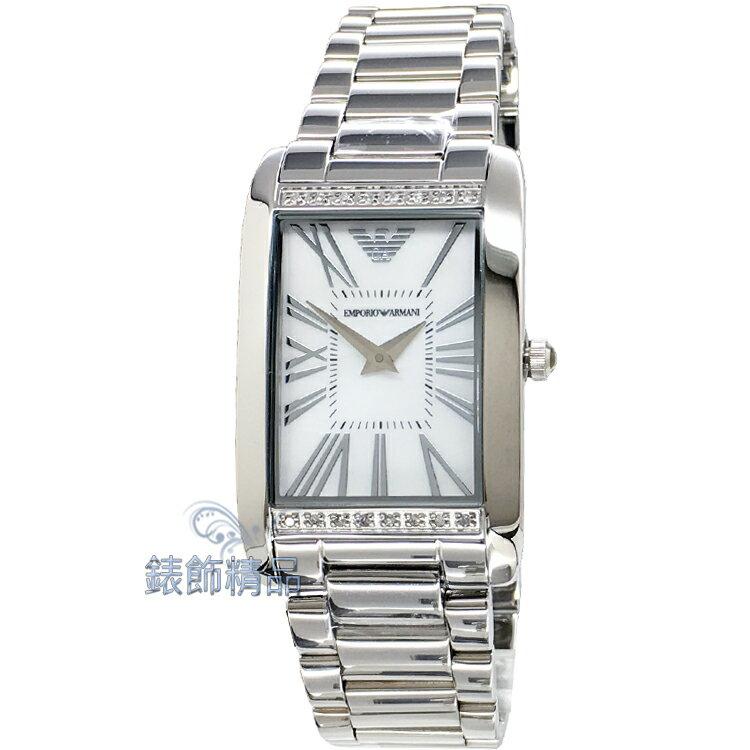【錶飾精品】ARMANI WATCH/ARMANI手錶/ARMANI錶/亞曼尼奢華時尚超薄方形珍珠貝面鑲鑽/羅馬時標女錶AR3169全新原廠正品