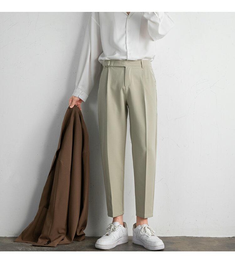FINDSENSE X  男生西褲類目情侶垂感直筒西裝褲英倫寬鬆九分休閑褲