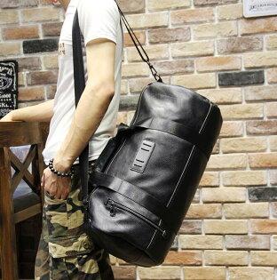 FINDSENSEZ1韓國時尚潮男複古皮質大容量手提包旅行包行李包單肩包側背包