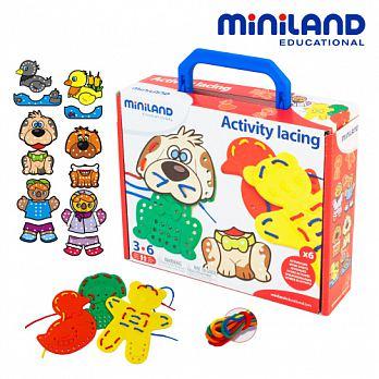 西班牙【Miniland】可愛圖卡動物穿線串串樂-3入組 - 限時優惠好康折扣