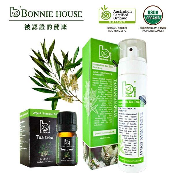 Bonnie House:【BonnieHouse】女孩心機,私密潔淨-茶樹私密肌水凝晶露180ml+茶樹精油5ml