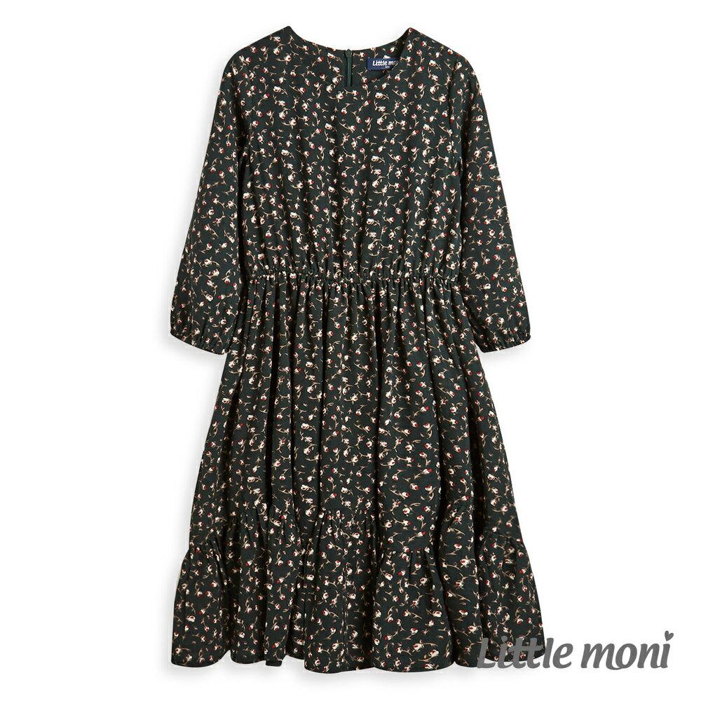 Little moni 印花洋裝-深綠(好窩生活節) - 限時優惠好康折扣