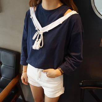 50%OFF【G018327C】實拍~性感時尚撞色V領系帶前短後長抽寬鬆T恤上衣女