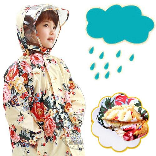 WallFree窩自在★韓國浪漫玫瑰花朵優質設計透明帽檐拉鍊釦兒童雨衣